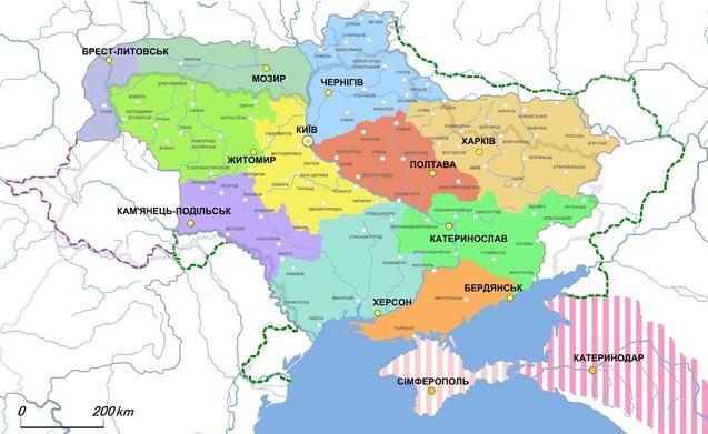 карта губернського устрою та етнічних меж українців на початку 20 ст