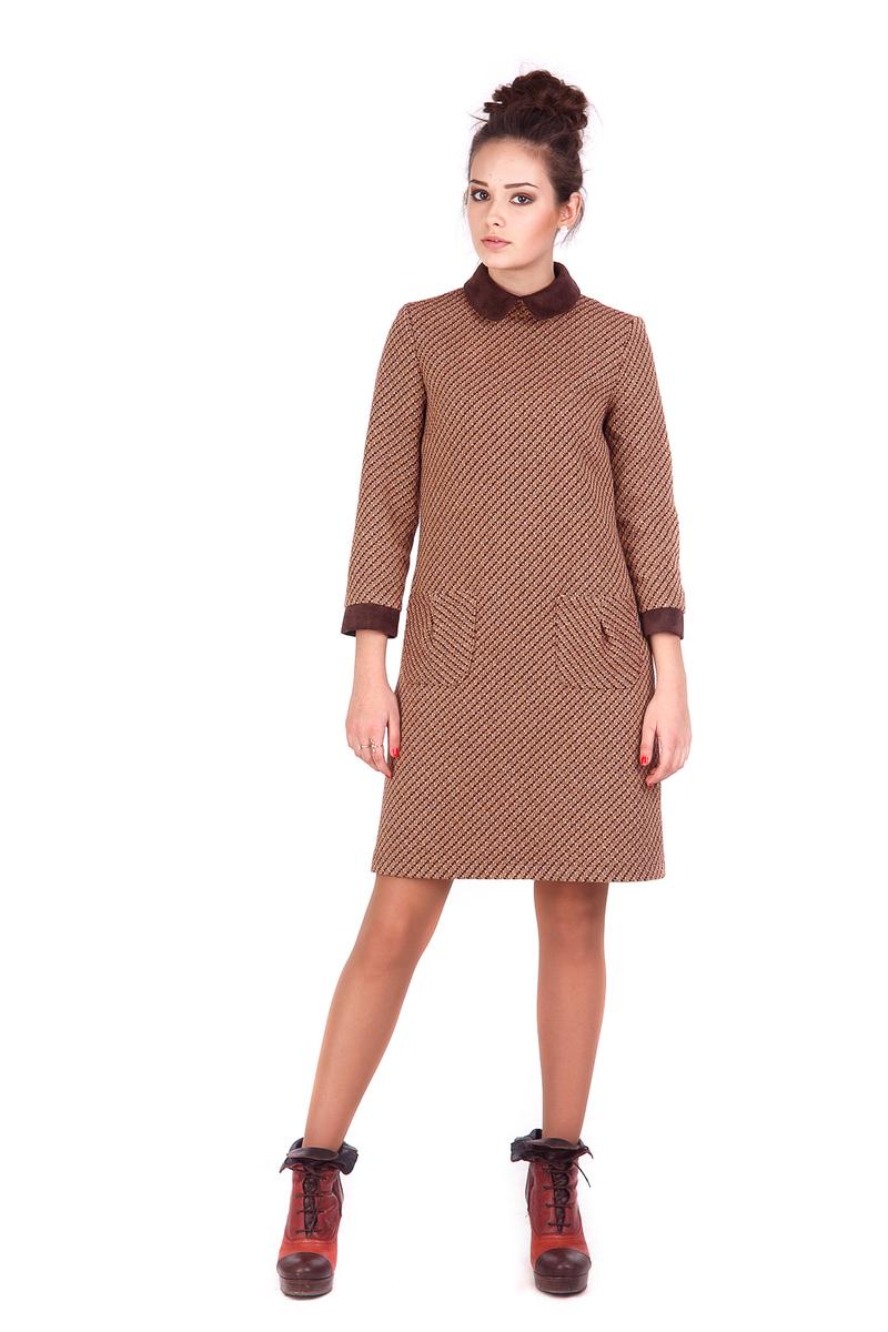 Зимова колекція Lilo коричнева сукня із замшевим комірцем ed7c0cf4c61b4