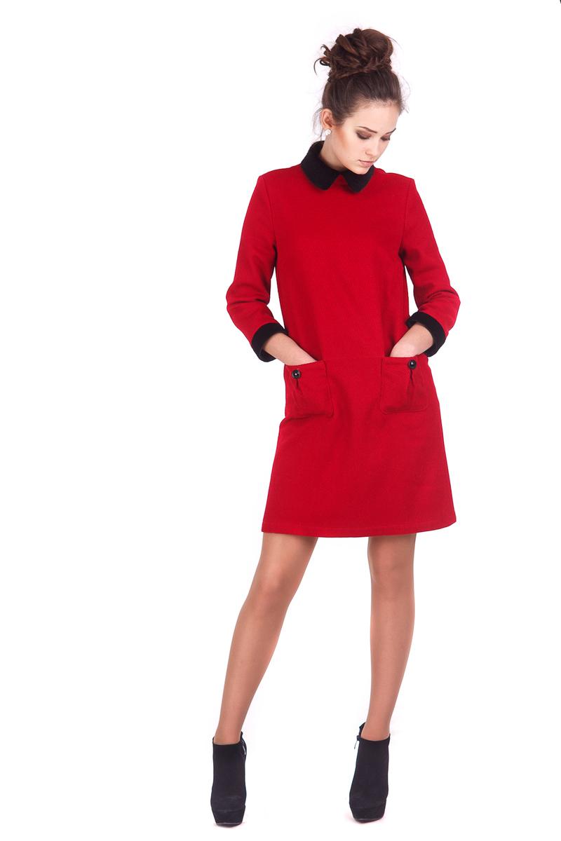 Зимова колекція Lilo червона сукня з комірцем зі штучного хутра 72d0642a2a2bd