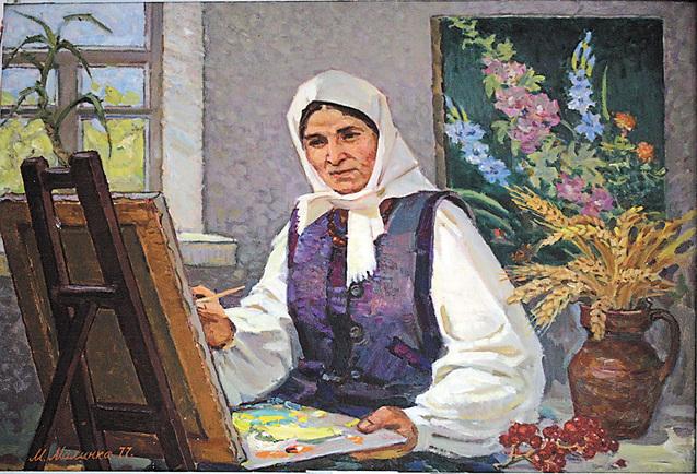 Картина Натхнення художника М.Малинка на якій зображена Катерина Білокур за роботою