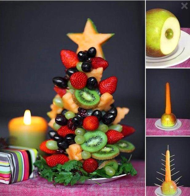 новорічний десерт Фруктова ялинка