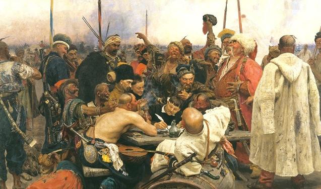 Козаки пишуть листа турецькому султану І.Рєпін червоно чорний прапор