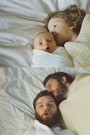 Флешбек у минуле: сини відтворили світлини, на яких ще зовсім малюки