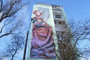 Гуцулка. Українські митці розкрили процес створення стінопису (Відео)