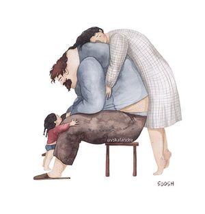 Любов між татусями і їхніми маленькими донечками в милих ілюстраціях від української художниці